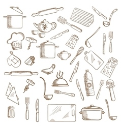 Kitchen utensil and kitchenware icons vector
