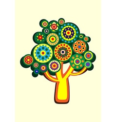 Cartoon multi-colored tree in a circle vector