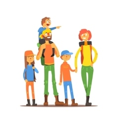 Family of five travelers vector