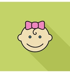 Baby girl flat icon vector