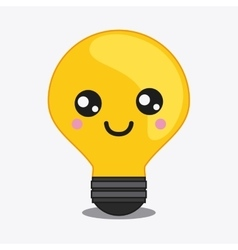 Light bulb icon kawaii and technology vector