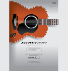 acoustic guitar concert poster background template vector image