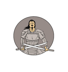 Angry samurai warrior crossing swords oval drawing vector