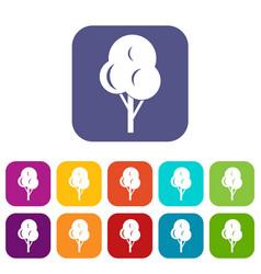 Autumn tree icons set vector
