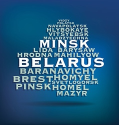 Belarus map made with name of cities vector image vector image