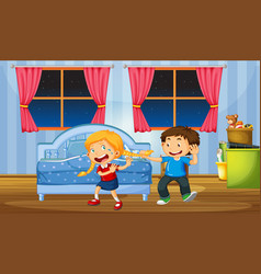 Brother teasing sister in bedroom vector