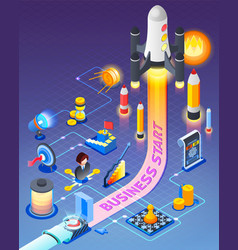 Business start isometric composition vector