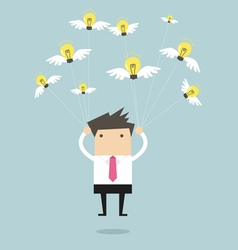 Businessman fly with idea bulb vector image vector image