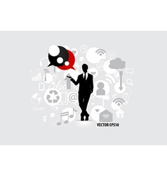 Businessman with cloud of application vector image vector image