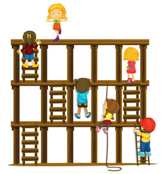 children climbing up the wooden ladders vector image