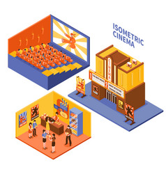 Cinema isometric compositions set vector