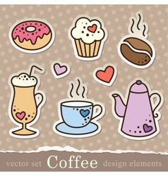 coffee stickers vector image vector image