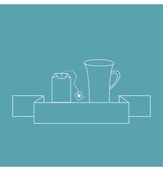 Contour teabag and teacup tea set in flat design vector