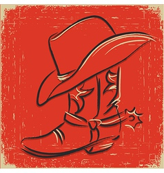 Cowboy boot and western hat Sketch foe design vector image vector image