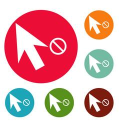 cursor stop icons circle set vector image vector image