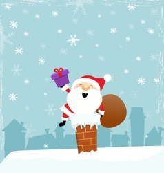 Cute Santa On Chimney vector image vector image