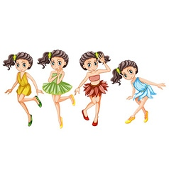 Four pretty fairies in colorful dress vector