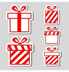 Gift boxes stickers set vector image vector image