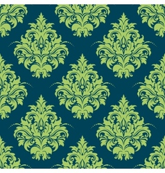 Green and blue damask style seamless pattern vector