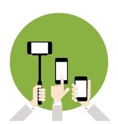 Hands hold smart phones flat design vector image