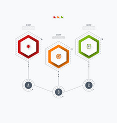 infographics template 3 options with hexagon vector image