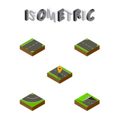 Isometric road set of navigation rightward down vector