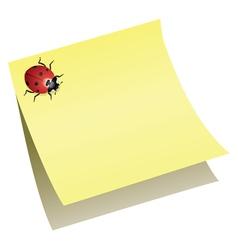 Ladybird on paper note vector