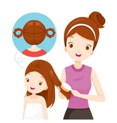 mother brushing daughter hair vector image