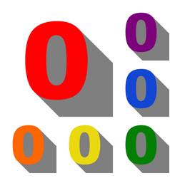 Number 0 sign design template element set of red vector
