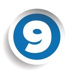 Number nine sticker blue vector