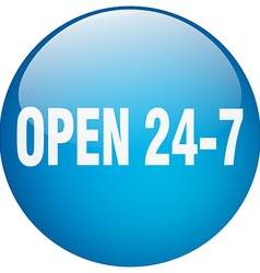 Open 24 7 blue round gel isolated push button vector