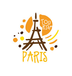 Paris tourism logo template hand drawn vector