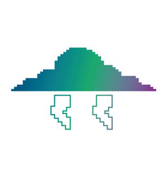 Pixelated cloud and thunderbolt weather storm vector