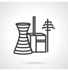 Power industry buildings simple line icon vector image