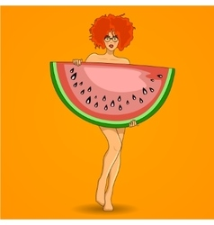 Pretty redhead woman poses with big watermelon vector image