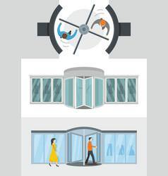 revolving door banner concept set flat style vector image vector image