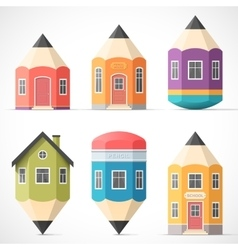 Set of colorful pencil houses vector image vector image
