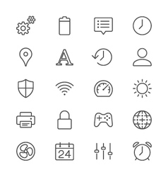 Setting thin icons vector image vector image