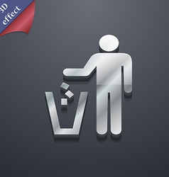 throw away the trash icon symbol 3D style Trendy vector image