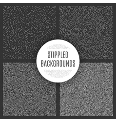 Set of black and white grainy dotwork textures vector