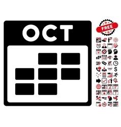 October Calendar Grid Flat Icon With Bonus vector image