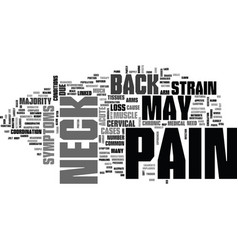 What may cause back neck pain text word cloud vector