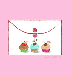 Envelope with cupcakes vector