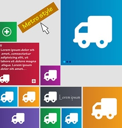 Delivery truck icon sign metro style buttons vector