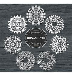 Set of 7 round decorative ornaments vector