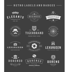Retro logotypes set vintage graphics design vector