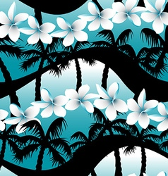 Blue tropical frangipani flowers with palm tree vector