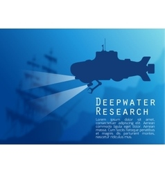 Blurred underwater background with submarine vector image