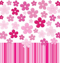 Pink background with flowers and stripes vector image