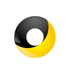 Creative yellow and black symbol letter o for your vector